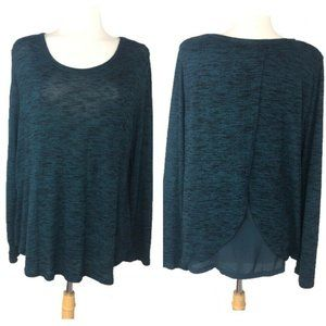 Old Navy Tulip Open Back Sheer Knit Top Cozy Green